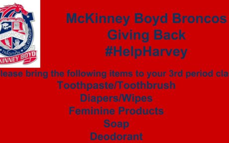 MBHS drive to Help Harvey