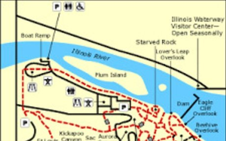 A political map the starved rock river