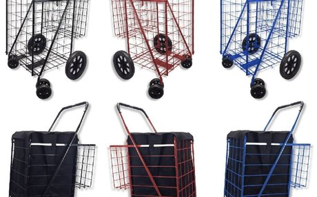 Heavy Duty Folding Shopping Carts - Wire and Canvas