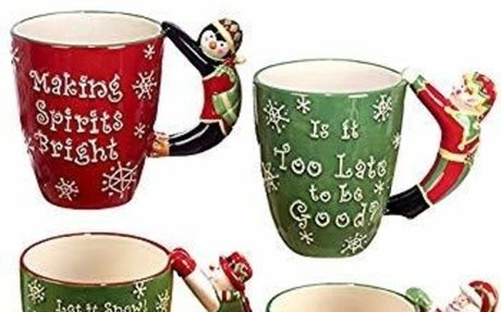 "Amazon.com | Certified International""Santa, Snowman, Elf & Penguin"" 3D Handle Mugs (Set of"