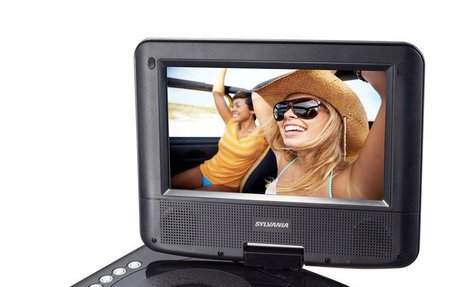 "Sylvania 7"" Display Portable DVD Player with 180 Degree Swivel Screen & Speakers 
