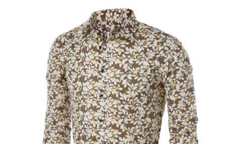 Men's Leaves Floral Print Long Sleeve Dress Shirt