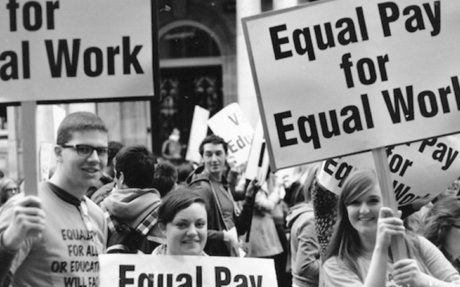 women fighting for equal pay