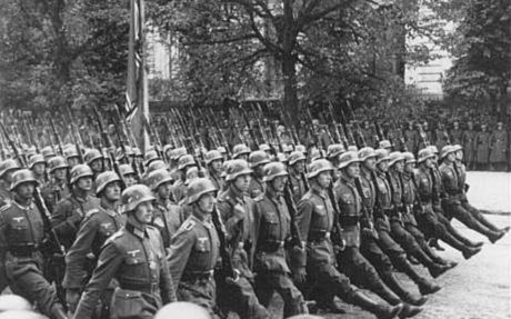 Hitler troops parading through Warsaw after the invasion of Poland. September 28-30, 1939