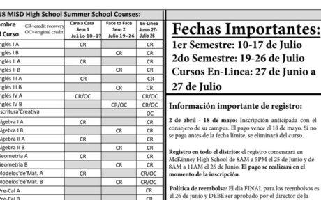 Información de la Escuela de Verano