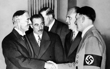 Chamberlain and Hitler in Munich for Negotiations on the Munich Agreement in 1938