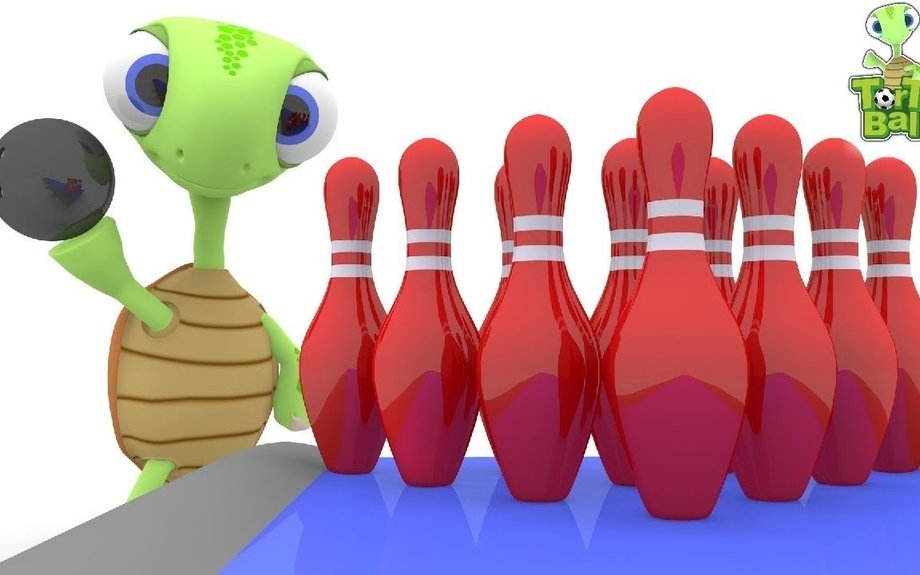 BOWLING BALLS - Turtle With Mini Bowling Learning Colors For Children and Kids | Torto Bal