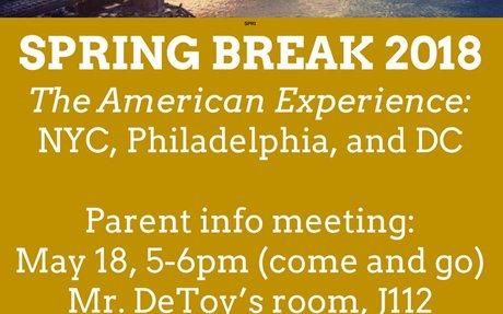 U.S. Spring Break trip- 2018
