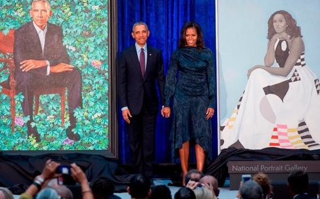 Barack and Michelle Obama's official portraits unveiled