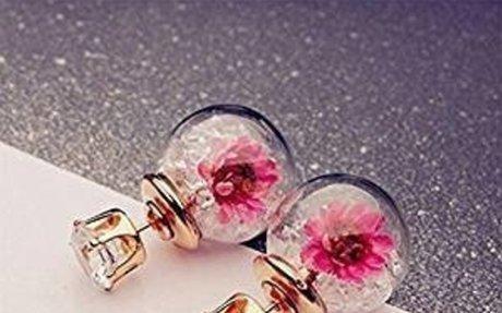 Amazon.com: Yesido. Glass Ball Real Flower Stud Earrings, Personalized Double-sided Spheri