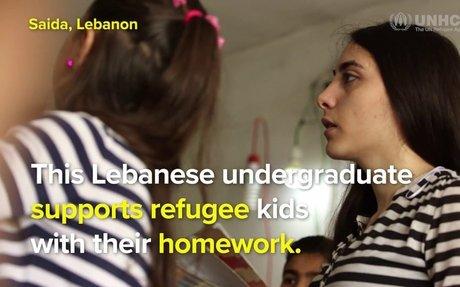 Lebanese student Noor's homework club for Syrian refugees