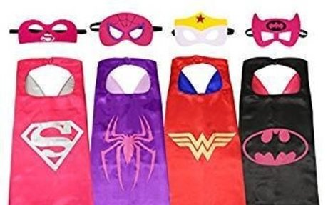 Amazon.com: Ecparty Superheros Cape and Mask Costumes Set Matching Wristbands For Kids (4