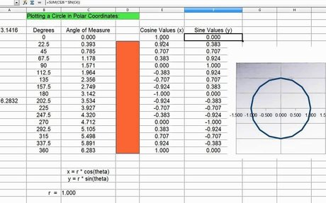 Spreadsheet Excel to Calculate center of circle from coordinates
