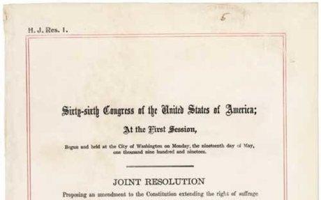 1. 19th Amendment to the U.S. Constitution: Women's Right to Vote (1920)
