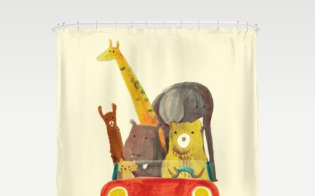 Visit the zoo Shower Curtain - Giraffe, Bear, Elephant & Rino