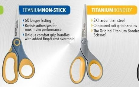 "Amazon.com : Westcott 13901 8"" Straight Titanium Bonded Scissors, Grey/Yellow, 2 Per Pack"