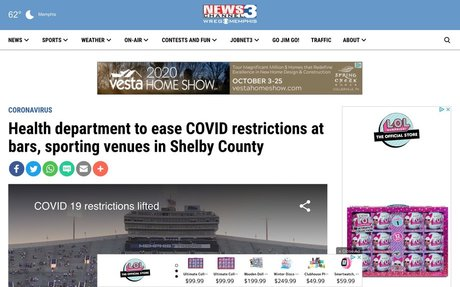Health department to ease COVID restrictions at bars, sporting venues in Shelby County