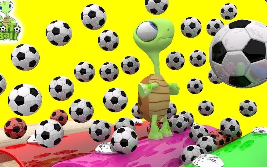 LEARN BALLS - Funny Turtles Rain Soccer Ball and Colors Football For Children and Kids | T