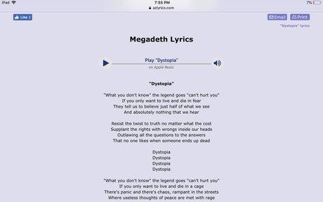 Megadeth Lyrics - Dystopia