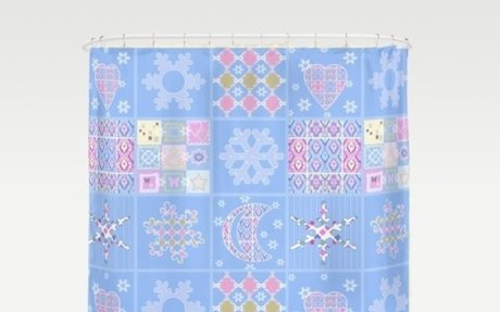 Patchwork Pink and Blue Merry Christmas . New year Shower Curtain