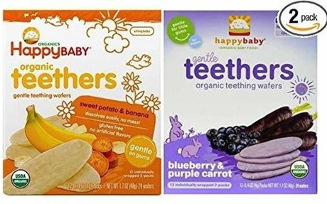 Happy Baby Organic Teethers Gentle Teething Wafers 2 Flavor Sampler Bundle: (1) Sweet Pota