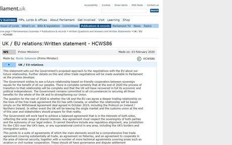 UK / EU relations:  Written statement - HCWS86