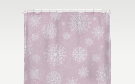 Assorted Snowflakes On Pink Background Shower Curtain  - Christmas Time