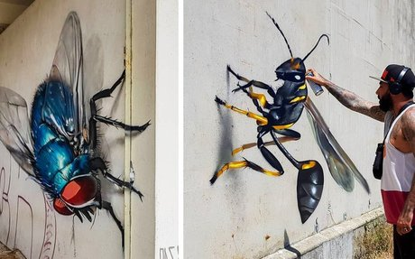 Larger-Than-Life Insects Lurk Around Abandoned Buildings in Anamorphic Street Art by Odeit
