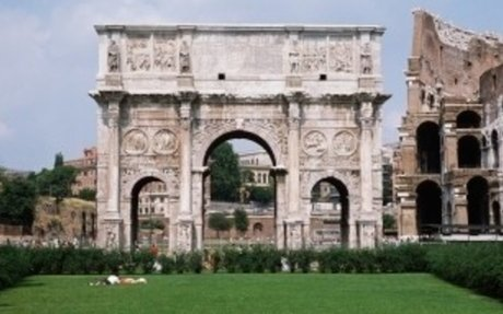 the-arch-of-constantine-against-the-colosseum-in-rome - Roman Architecture and Engineering
