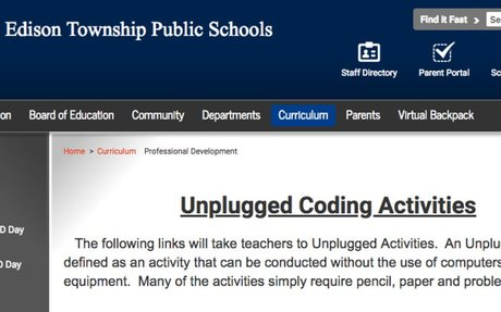 Unplugged Coding Activities by Edison Township Public Schools