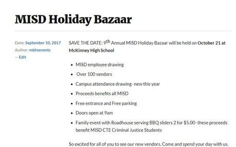 MISD Holiday Bazaar