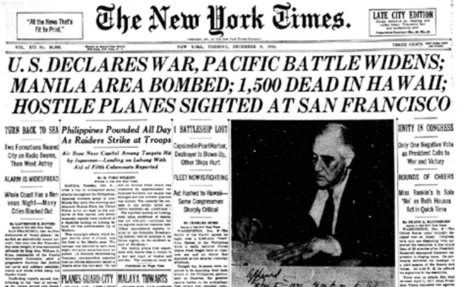 U.S. DECLARES WAR, PACIFIC BATTLE WIDENS
