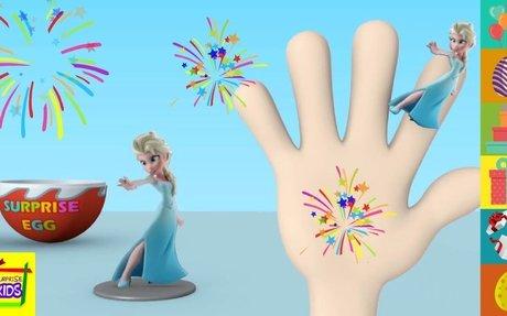 Frozen Elsa Character Surprise Egg Finger Family by Surprise Kids Nursery Rhymes