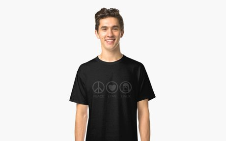 ' Peace Love And Linux' Classic T-Shirt by bluechili