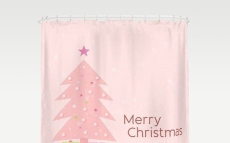 Pink Christmas Tree with pink gifts Shower Curtain