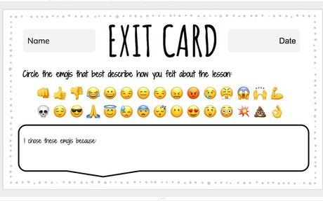 Plenary Activity: Emoji Exit Card Template