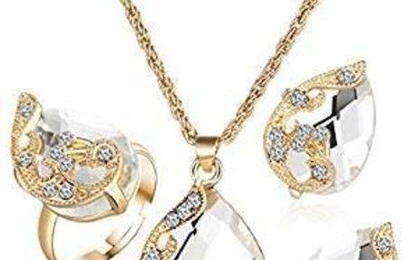 Amazon.com: OrliverHLCharming Peacock Teardrop Gemstone Pendant Diamond Necklace Earrings