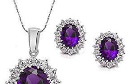 Amazon.com : SOURBAN Women's Princess Necklace Earring Creative Blue Sapphire Jewelry Sets