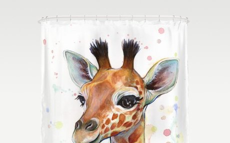 Giraffe Baby Animal Watercolor Whimsical Nursery Animals Shower Curtain