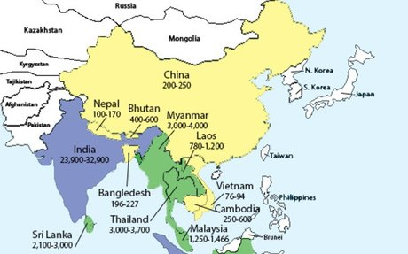 Asian Elephant Distribution Map