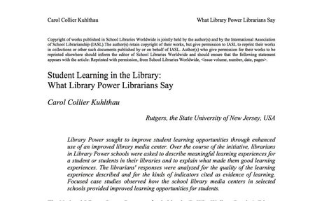 Student Learning in the Library: What Library Power Librarians Say