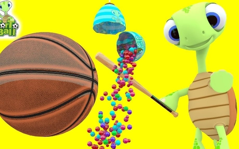 BASKETBALL Turtle Baseball Players With Surprise Eggs Learn Balls For Children and Kids |
