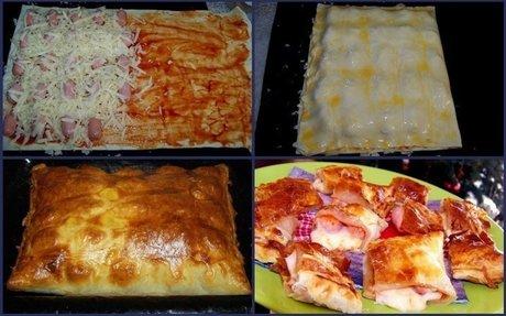 1. sütőt 200 fokra (légkeverésesre) állít 2. friss leveles tésztát sütőpapírra kiteker 3.