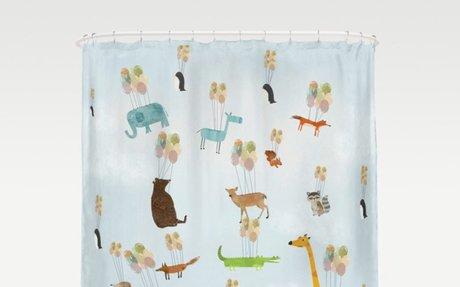 Zoo Animals Floating with Balloons - shower curtain