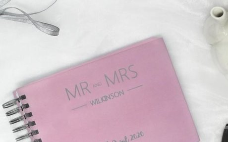 A5 Personalised Silver Foil Guest Book | Personalised Hardback Wedding Book | Available in
