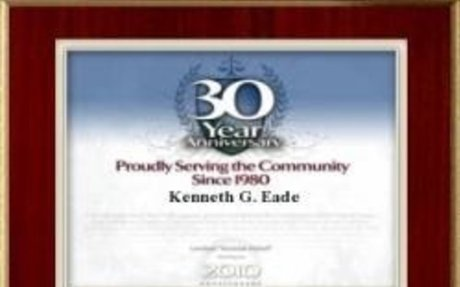 ATTORNEY KENNETH G. EADE RECOGNIZED FOR 30 YEARS' SERVICE TO THE COMMUNITY