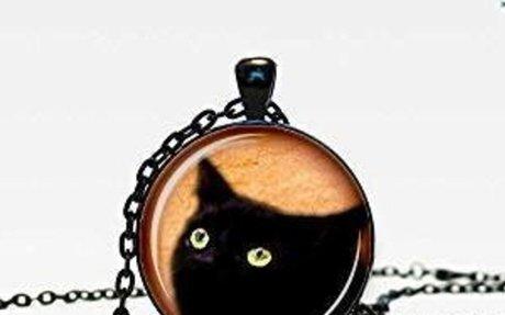 Amazon.com: Peeking Black Cat Pendant, black cat pendant, inquisitive cat, nature necklace