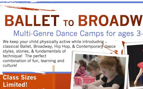 Ballet to Broadway DANCEcamp (ages 8-11) Register by May 15th for HALF OFF T-shirt!