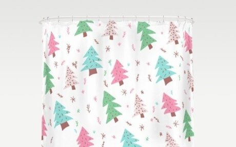 Modern pink green blue Christmas tree snowflakes