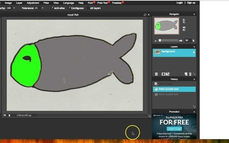 Pixlr Tutorial: How to add color to your drawing